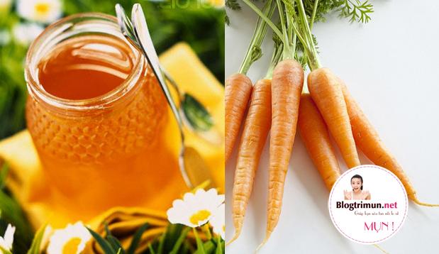 Trị mụn đầu đen ở mũi bằng cà rốt và mật ong